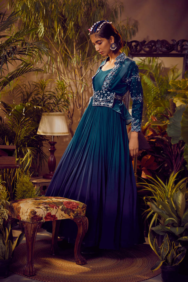 Deep Aurora Blue Ombre Anarkali With Cape
