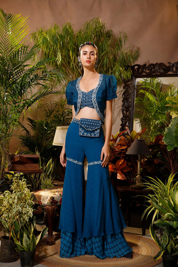 Deep Aurora Blue Printed Blouse With Cape and Sharara Pants