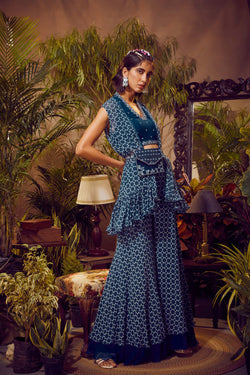 Deep Aurora Blue With Blouse, Printed Cape and Palazzo Pants