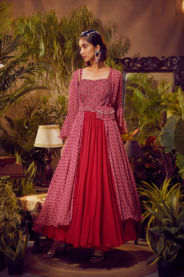 Fuchsia Corset Anarkali With Printed Bell Sleeve Cape