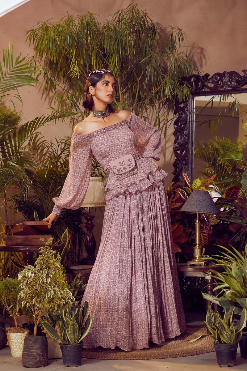 Smoked Pink Lehenga With Off Shoulder Peplum and Skirt