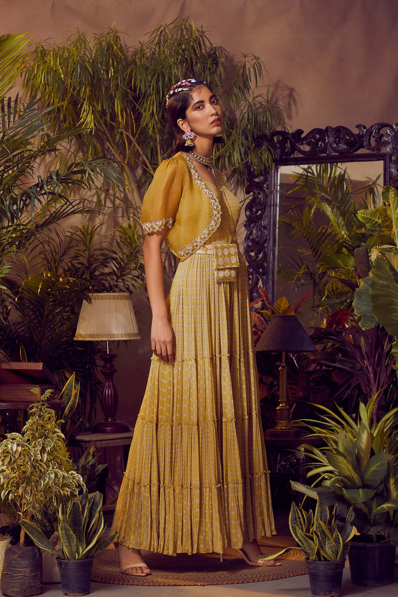 Mayan Gold Tiered Jumpsuit