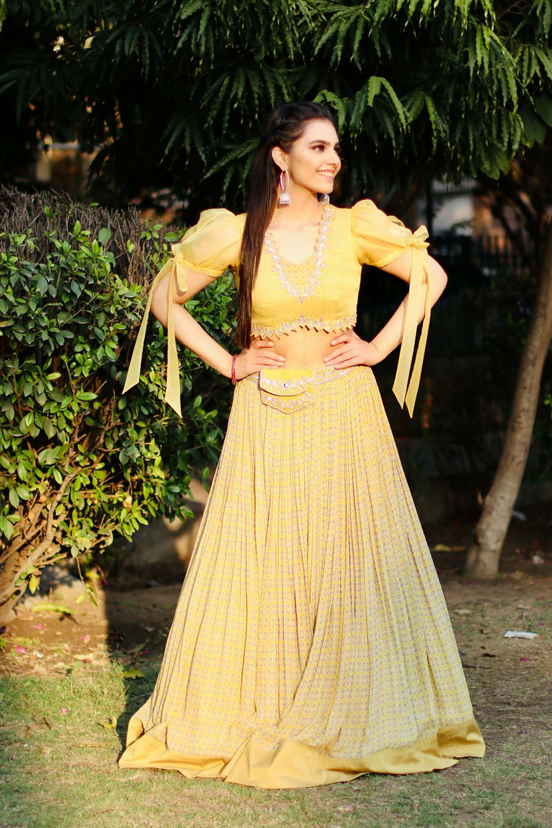 Mayan Gold printed Lehenga with organza puff sleeved blouse