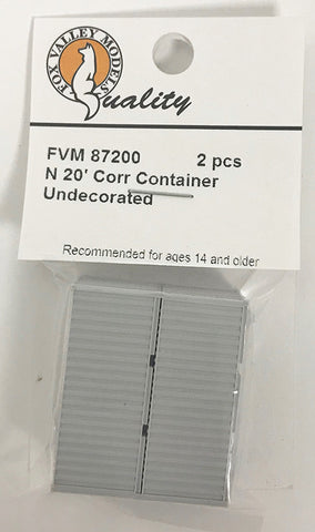 FVM 87200 20' Corrugated Container/ Undec 2 Pack