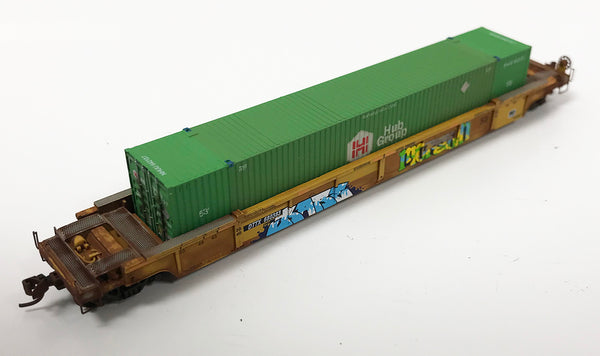 N Custom Stack Car w/ Container DTTX #680303