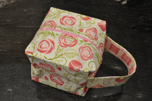 Tea Thyme Box Project Bag - Pale Green/Cream