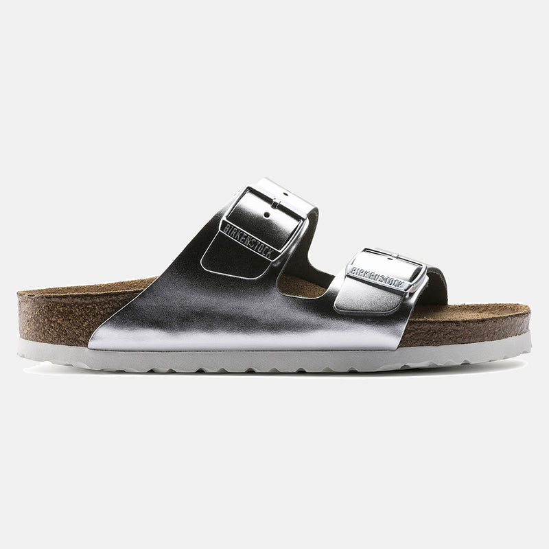 Birkenstock ARIZONA Metallic Silver with Soft Footbed