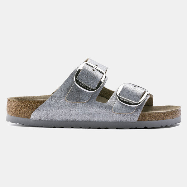 Birkenstock ARIZONA Washed Metallic Blue Silver with Big Buckle