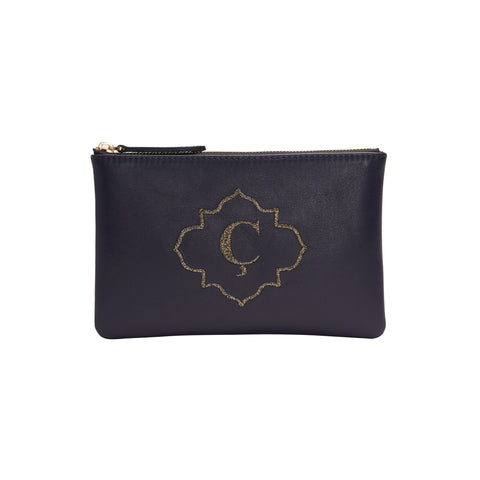 Initial Clutch with Leather
