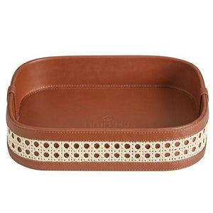 Fey Tray Midi with Leather/Rattan