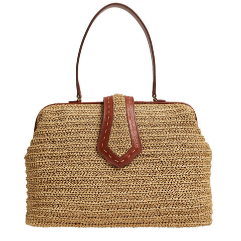 Jung Bag with Handwoven Raffia/Leather
