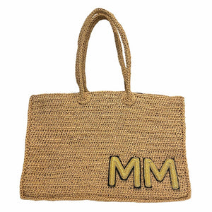 Personalized Raffia tote with gold metal embroidered initials
