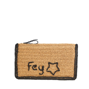 Personalized Raffia Clutch
