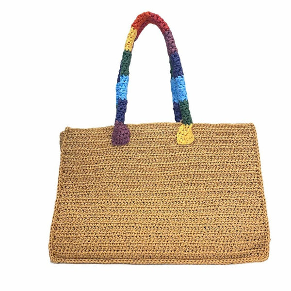 Handwoven Raffia tote with Rainbow Handle