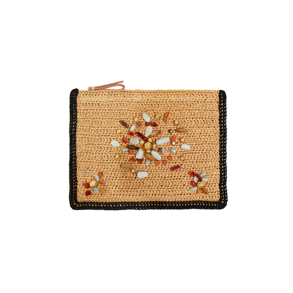 Terra Bejewelled Clutch with Raffia