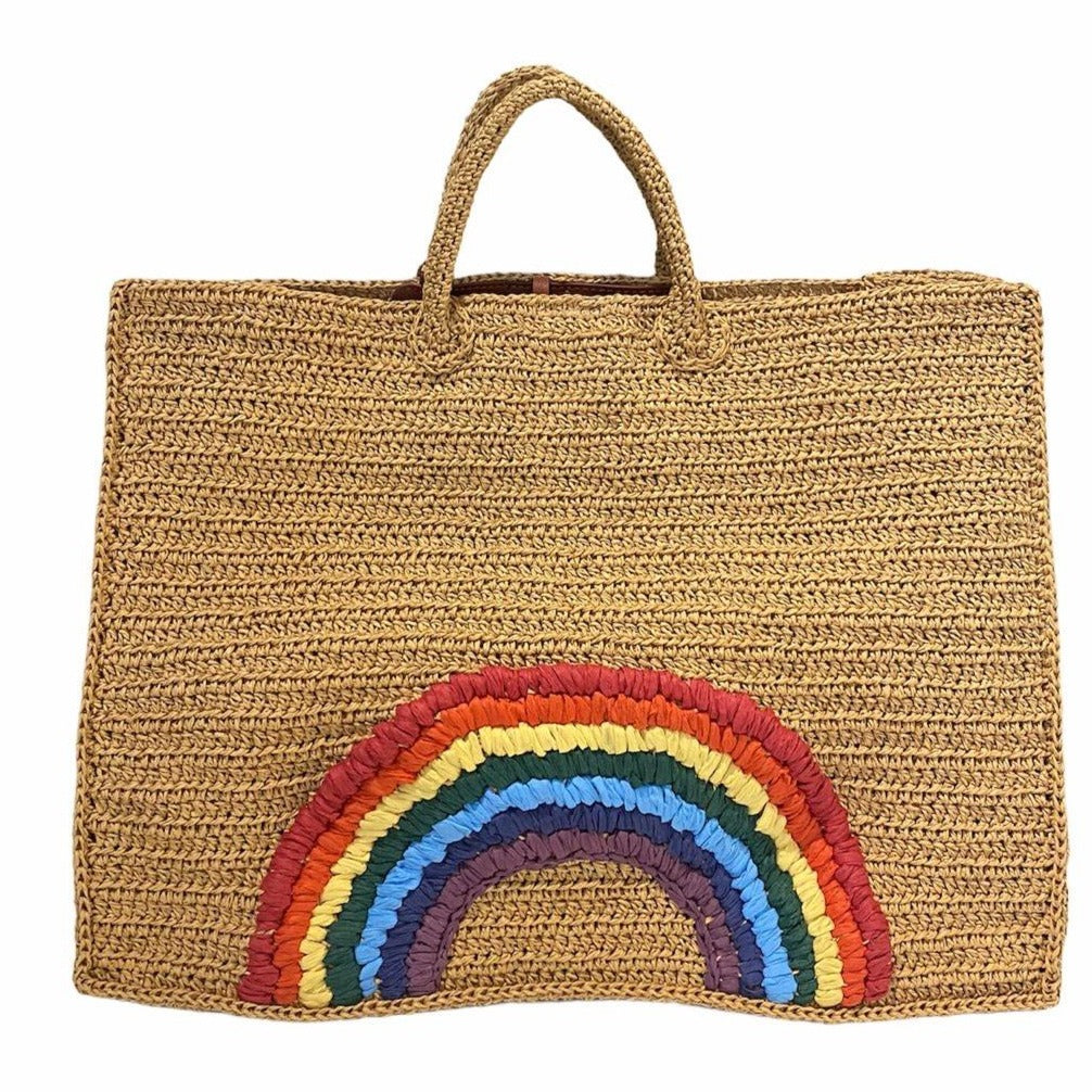 Large Raffia Tote with Hand Embroidered Rainbow