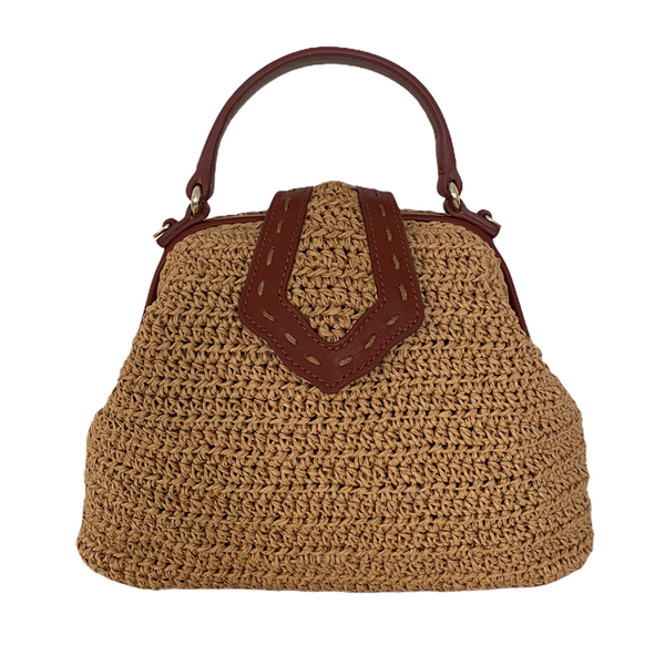 Mini Jung Bag with Handwoven Raffia/Leather