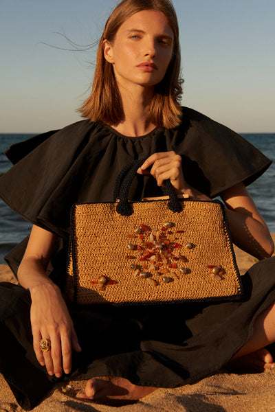 Terra Bejewelled Bag with Raffia