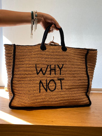 Personalized Large Raffia Tote