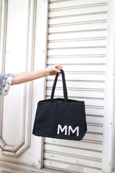 Personalized Raffia tote with silver metal embroidered initials