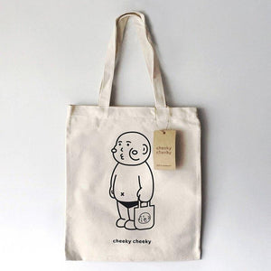 Cheeky cheeky Boy Girl Canvas Tote Bag | RARE FIND ZAKKA
