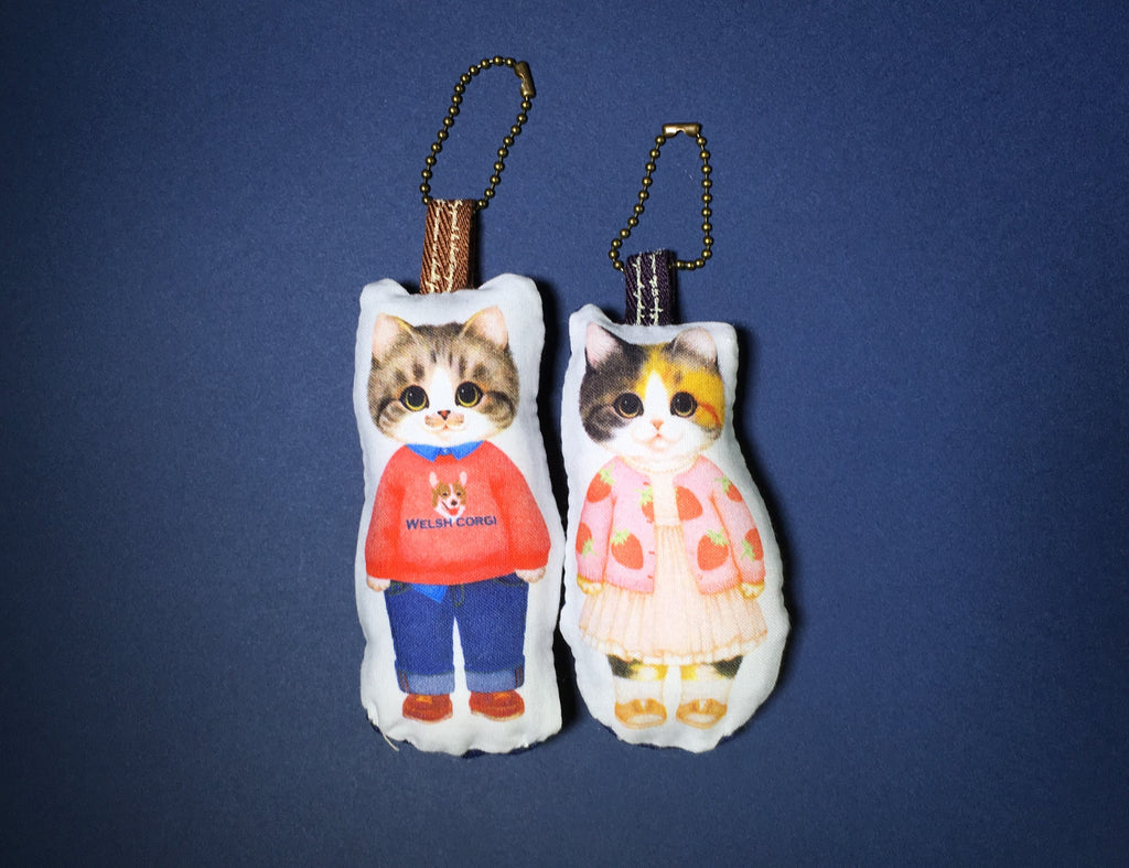 """Dating Cat Couple"" Handmade Mini Pillow Keychains 