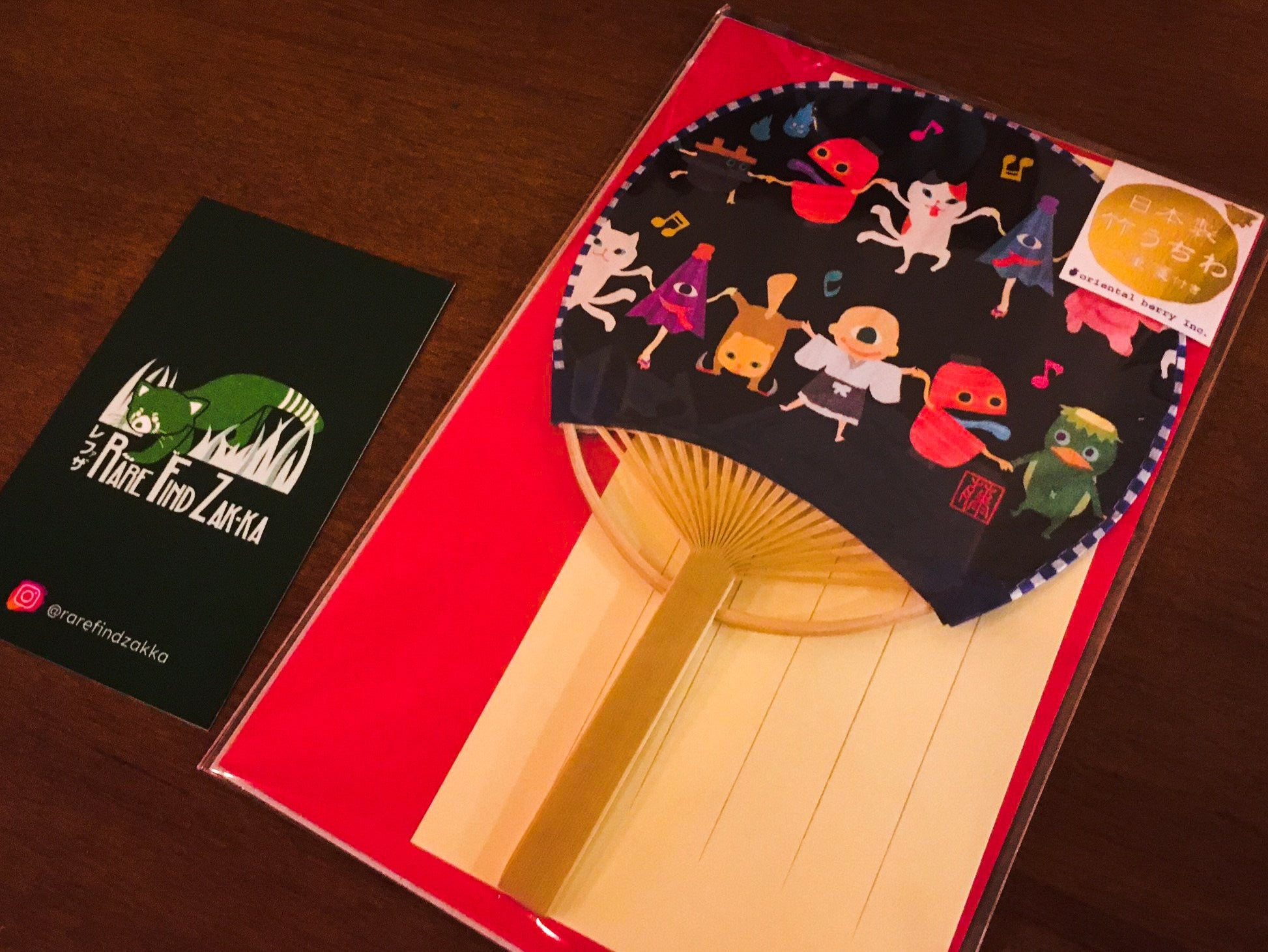 "Japanese Ghost ""Obake Uchiwa"" Bamboo Paper Fan with Enevelope and Letter Set 