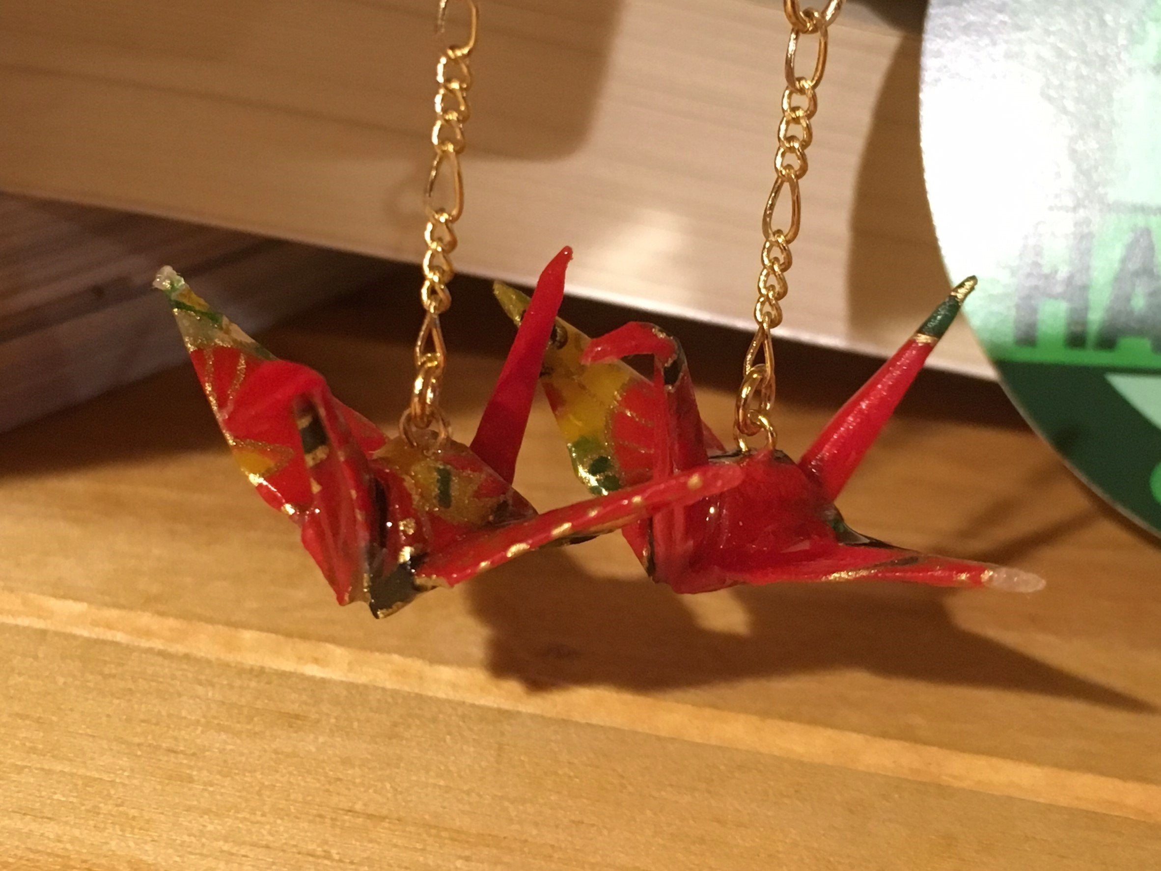"Japanese Washi ""ORIGAMI"" Red Paper Crane Earrings 
