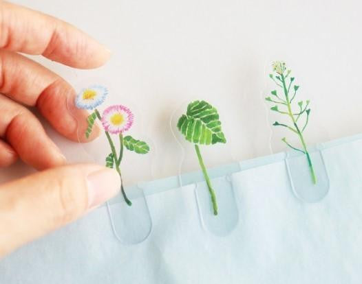 """Koniwa"" Tiny Garden Flowers Clear Plastic Clip Bookmark Set 
