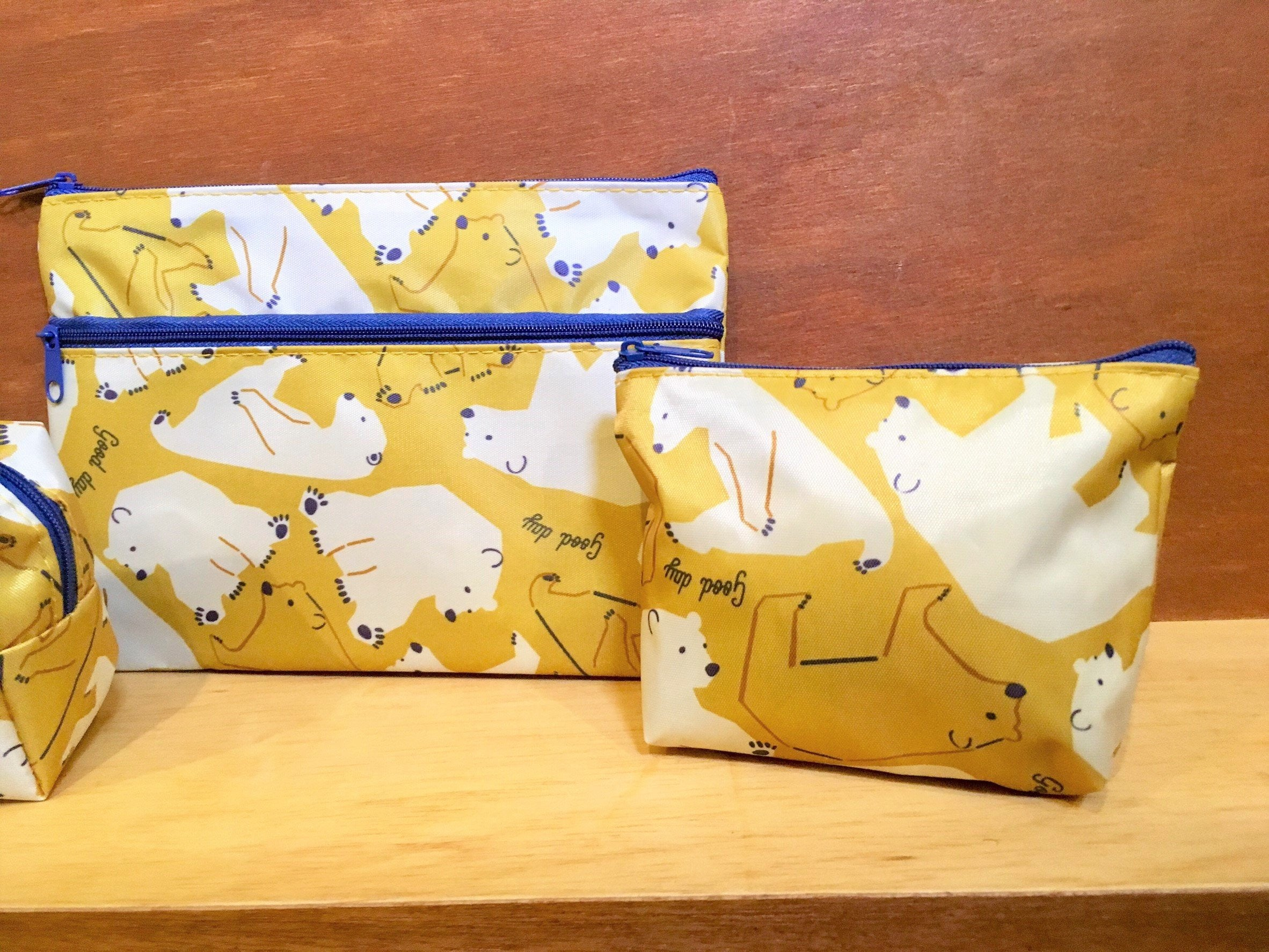 Northern European Style Orchre Yellow Polar Bear Pouch Bags Set | RARE FIND ZAKKA