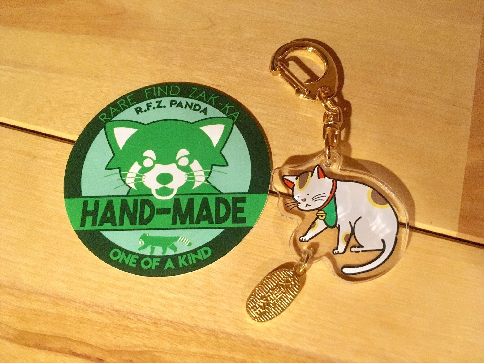 """Road Safety"" Maneki Neko (Cat) Acrylic Keychain 