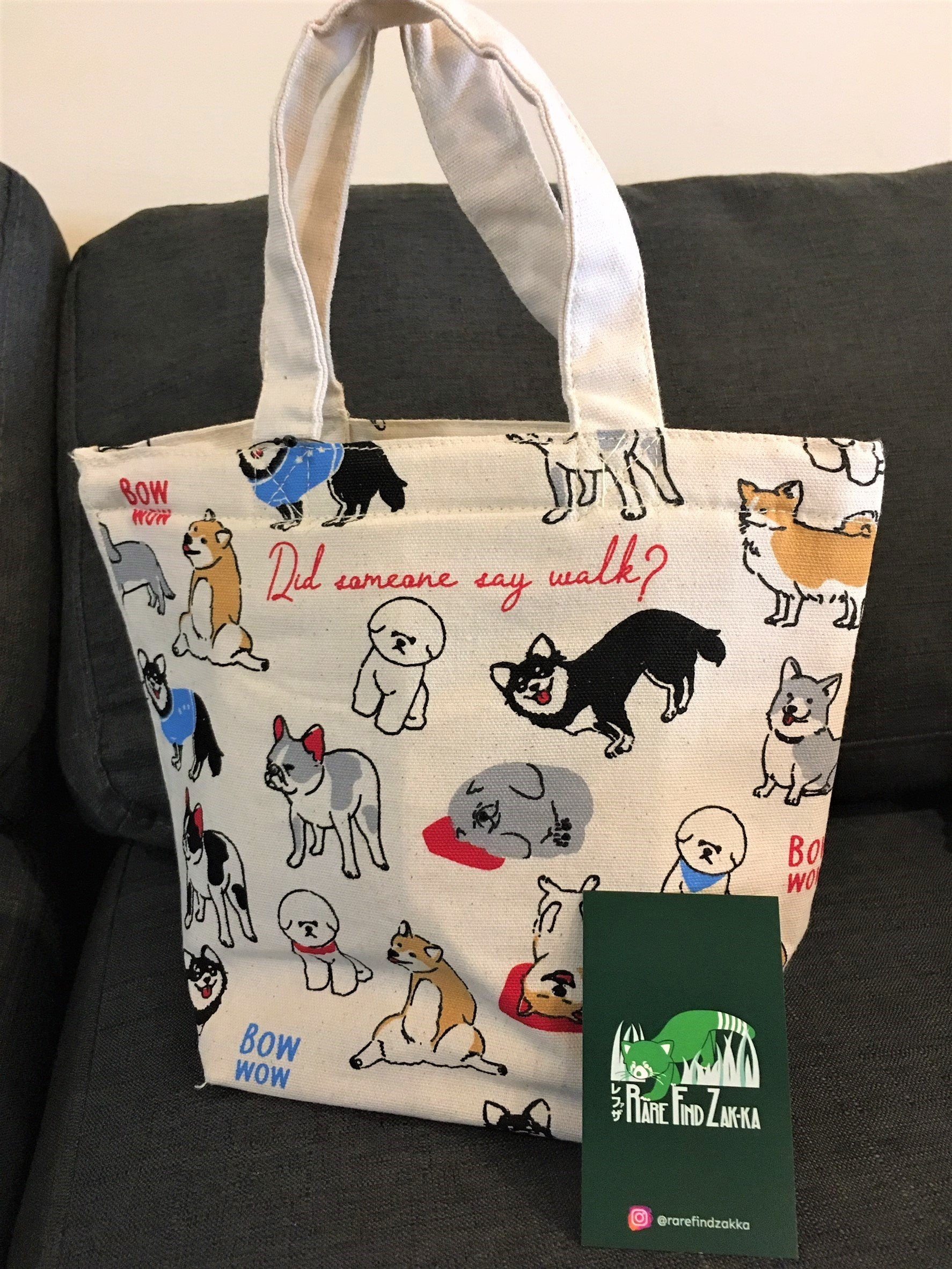 "Dogs ""BOW WOW"" Insulated Canvas Tote Bag 