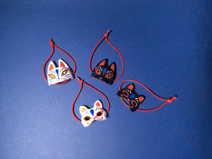 "Japanese Festival ""Black/White Cat and Fox"" Mini Masks 