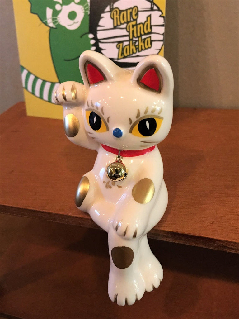 Stylish Crossed Leg Lucky White Maneki Neko (Cat) Ceramic Figure | RARE FIND ZAKKA