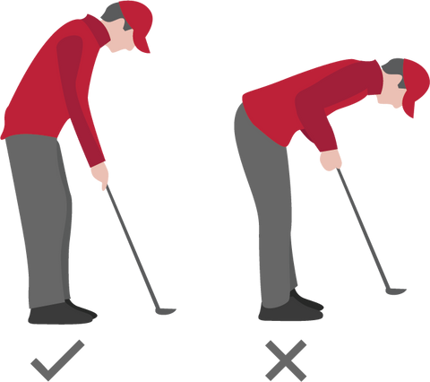 cartoon showing correct golfing stance