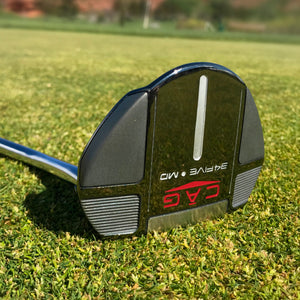 Mallet putter laying in grass