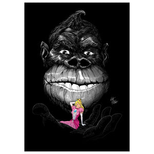 Donkey Kong & Princess Peach - Black & Pink print artwork