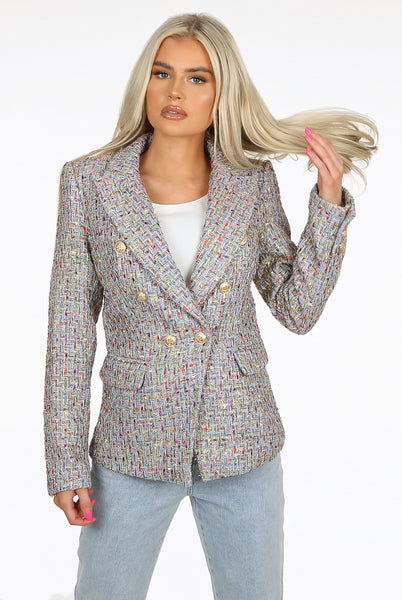 New Season Attentif Paris Remey Double Breasted Blazer in Blue