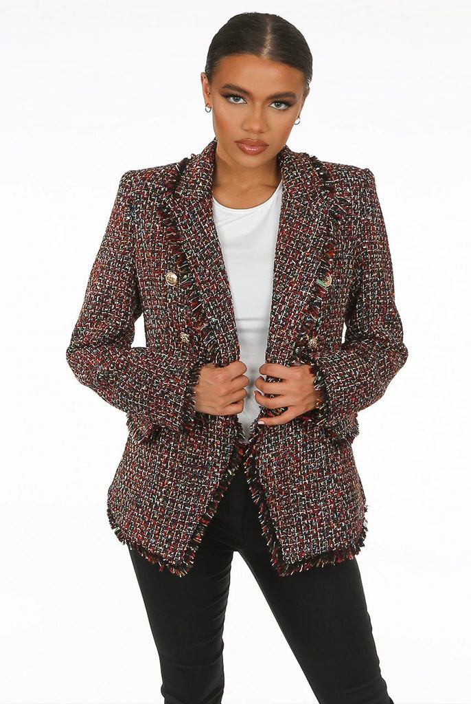 Simone Check Pattern Knitted Double Breasted Blazer in Red