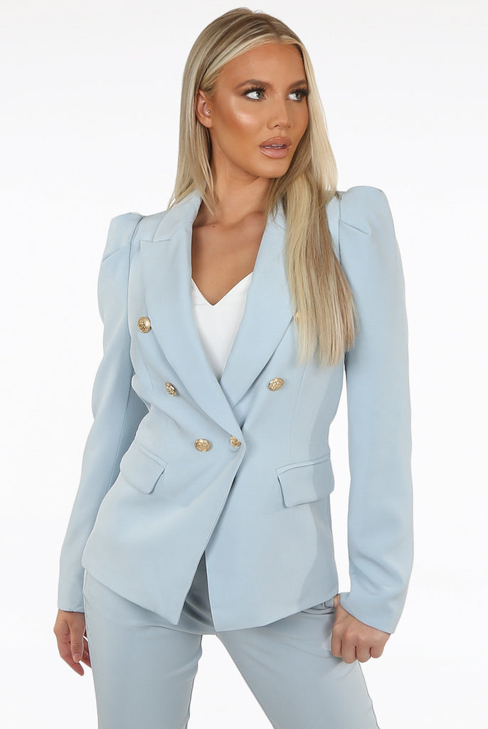 Amanda Puff Shoulders Double Breasted Blazer in Blue