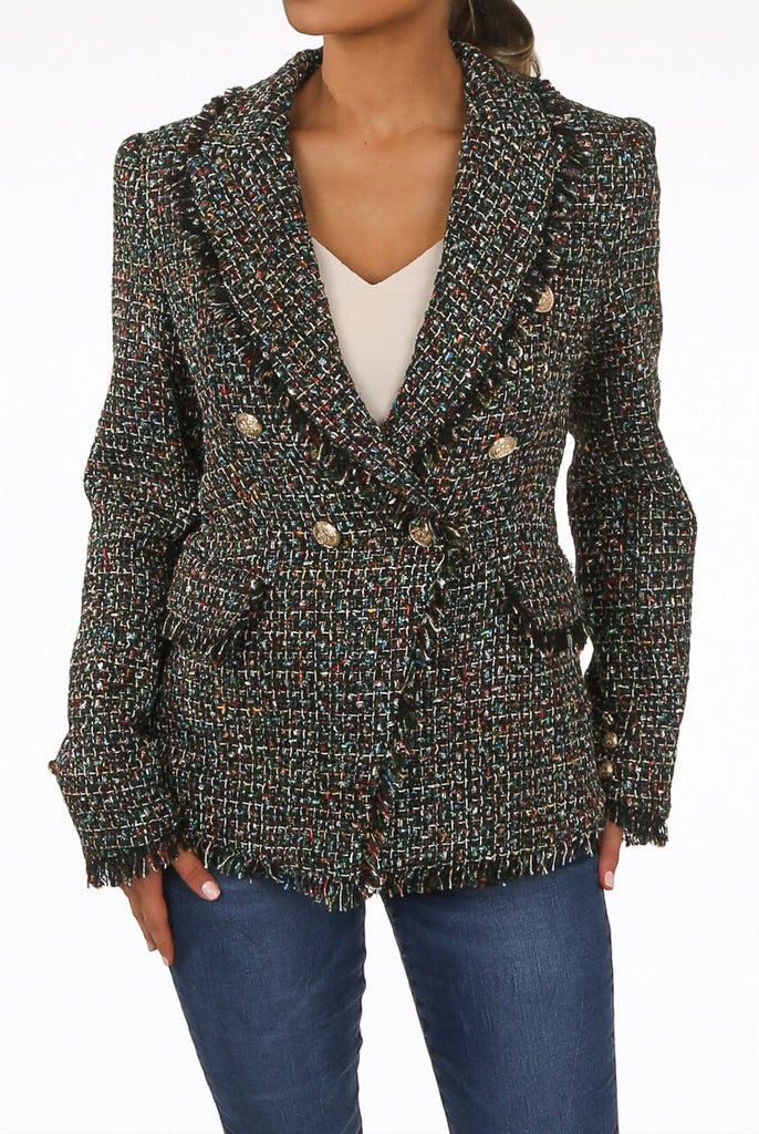 Simone Check Pattern Knitted Double Breasted Blazer in Dark Green