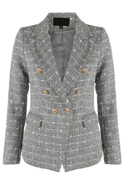Jade Metallic Thread Trim Double Breasted Blazer in Grey