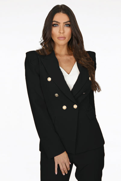 Amanda Puff Shoulders Double Breasted Blazer in Black