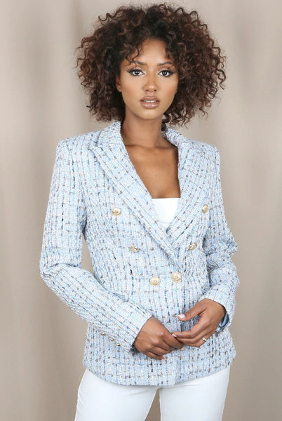 Eva Attentif Paris Pastel Tweed Tailored Blazer in Blue