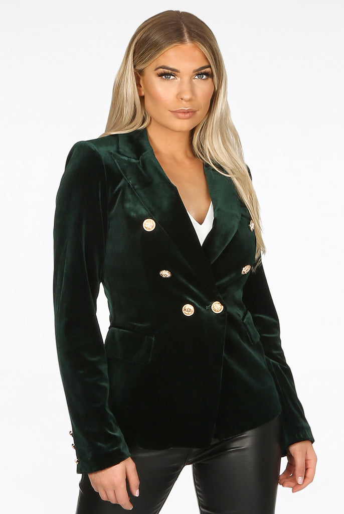 Cassie Velvet Double Breasted Golden Button Blazer in Green