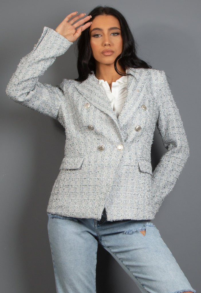 Gina Gingham Peplum Blue Top
