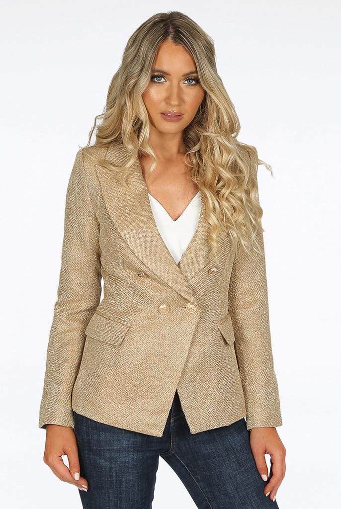 Camilla Camel Hopsack Double Breasted Blazer
