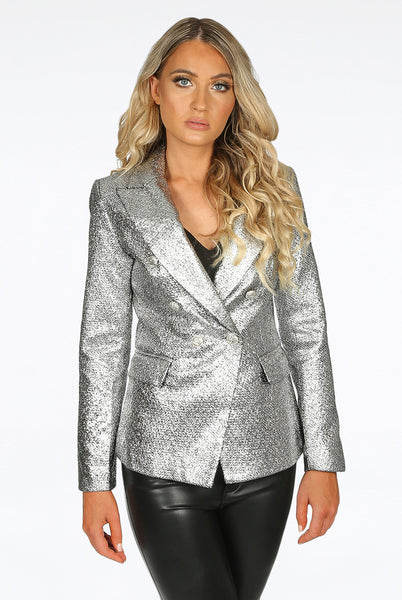 Alix Foil Textured Double Breasted Silver Blazer
