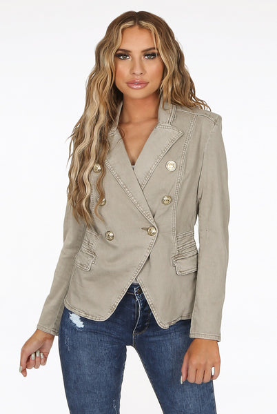 Questa Acid Wash Taupe Denim Military Blazer