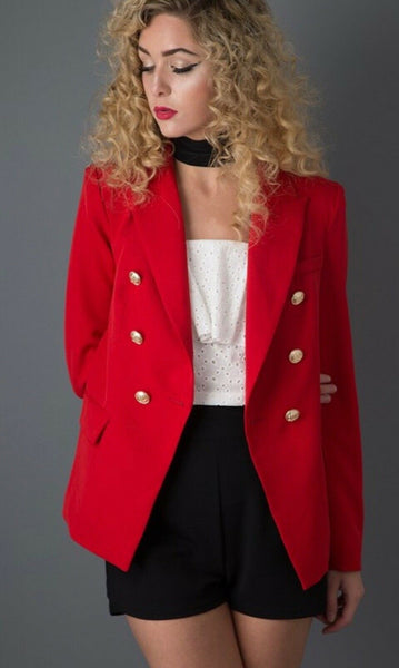 Dominique Red Double Breasted Blazer